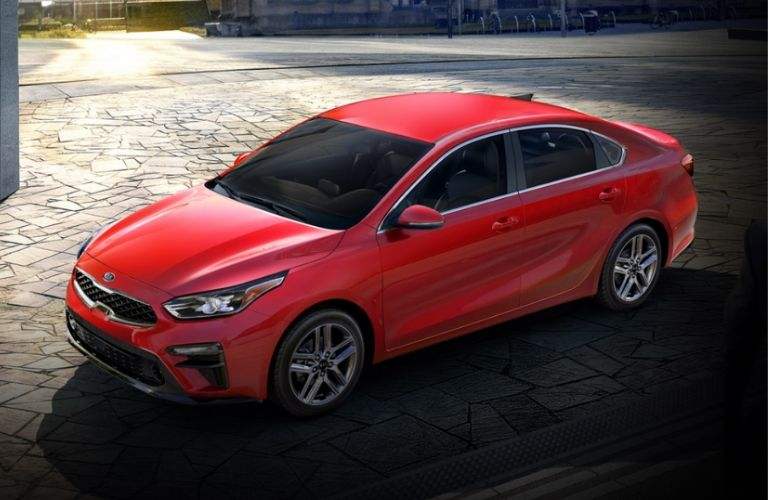 Exterior view of a red 2020 Kia Forte