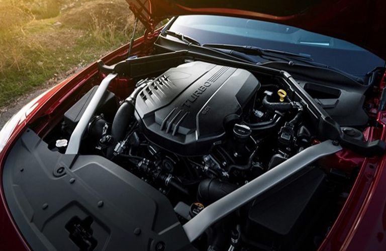 Closeup view of the 2019 Kia Stinger engine