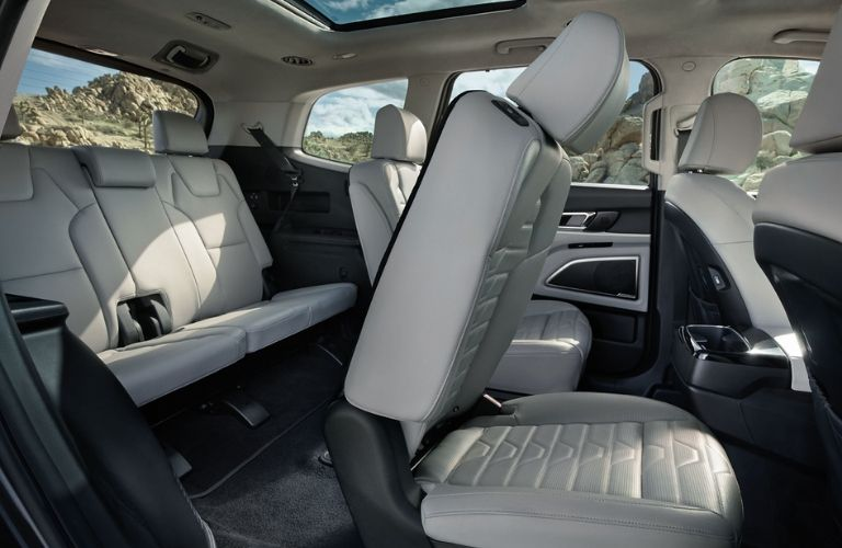 Interior view of the third-row accessibility inside the 2020 Kia Telluride
