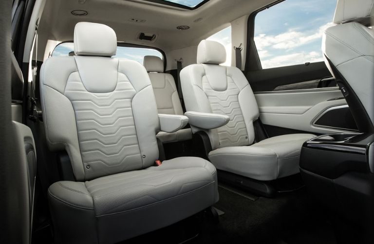 Interior view of the second-row captain's chairs inside the 2020 Kia Telluride