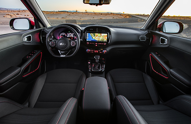Dark grey dashboard and front seats in 2020 Kia Soul