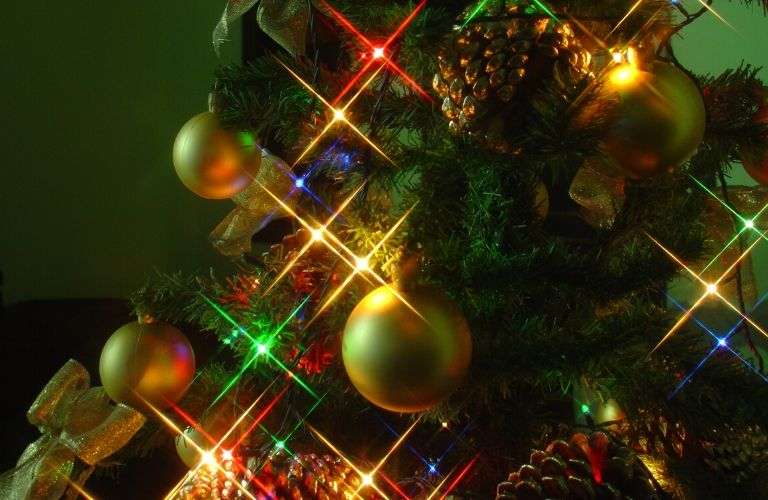 lights and ornaments on a Christmas tree