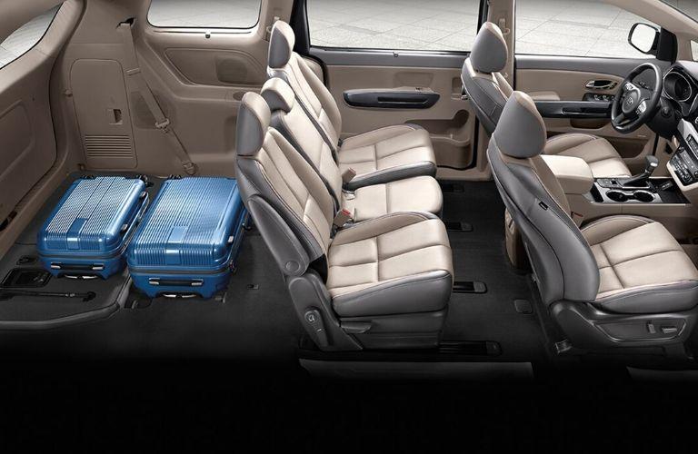 cutaway view of 2020 Kia Sedona interior showing cargo behind second row