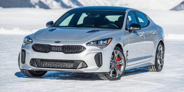 Silver 2020 Kia Stinger on Snow