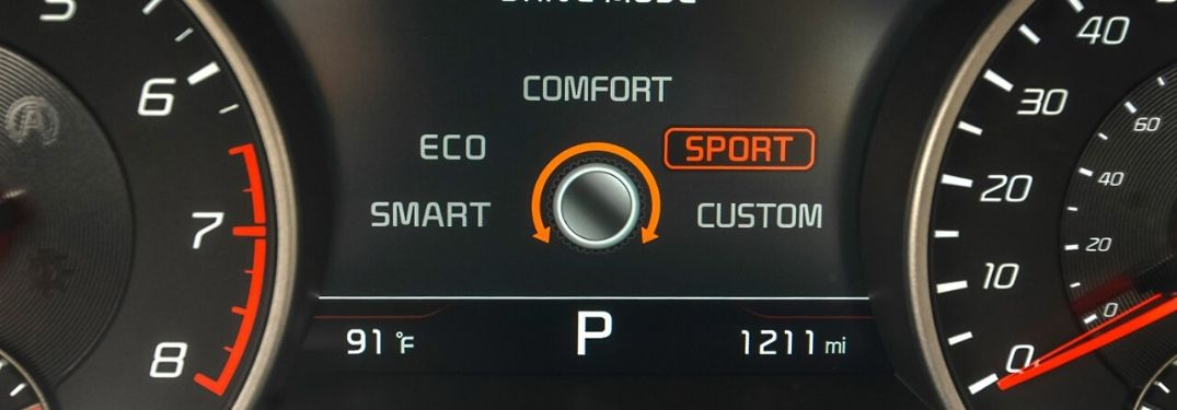 Close Up of 2020 Kia Stinger Driver Information Display with Drive Mode Select Modes