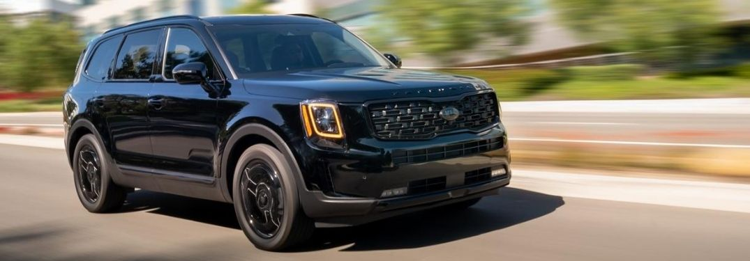 Black 2021 Kia Telluride Nightfall Edition on a City Street