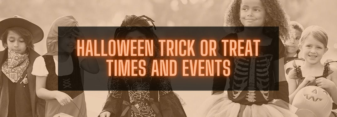 Sepia Image of Kids Trick or Treating with Orange Halloween Trick or Treat Times and Events Text on Black Background