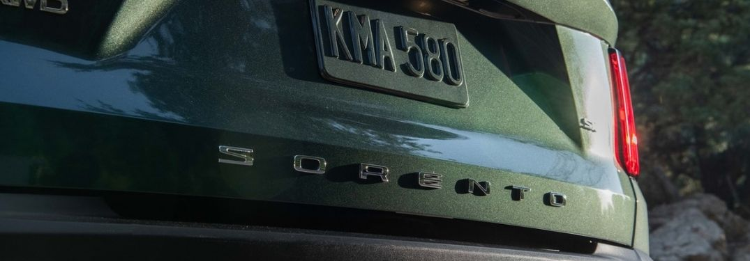 Close Up of Sorento Badge on the Back of 2021 Kia Sorento X-Line