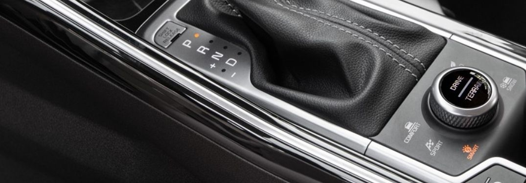 Close Up of 2021 Kia Sorento Center Console with Kia Drive Mode Select