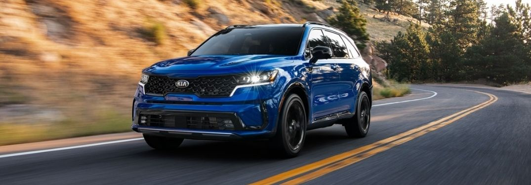 Blue 2021 Kia Sorento on a Country Highway