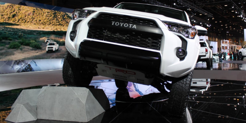 Front grille and headlights of 2019 Toyota 4Runner TRD Pro model shown at Chicago Auto Show