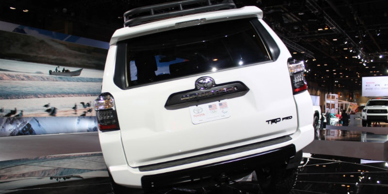 Rear nameplate and taillights of 2019 Toyota 4Runner TRD Pro at Chicago Auto Show