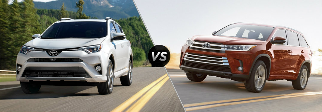 white toyota rav4 compared to red toyota highlander