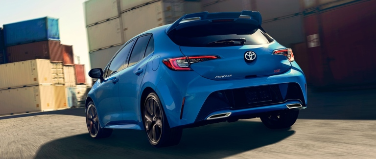2019 toyota corolla hatchback blue back view o salinas toyota. Black Bedroom Furniture Sets. Home Design Ideas