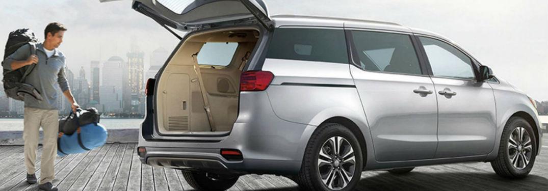 2020 Kia Sedona with rear cargo door open