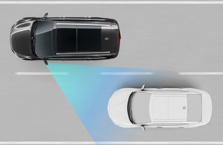 Diagram of 2020 Kia Sorento showing how Blind Spot Collision Warning works