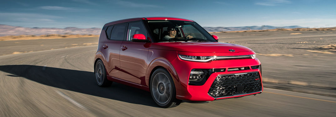 2020 Kia Soul driving on a road