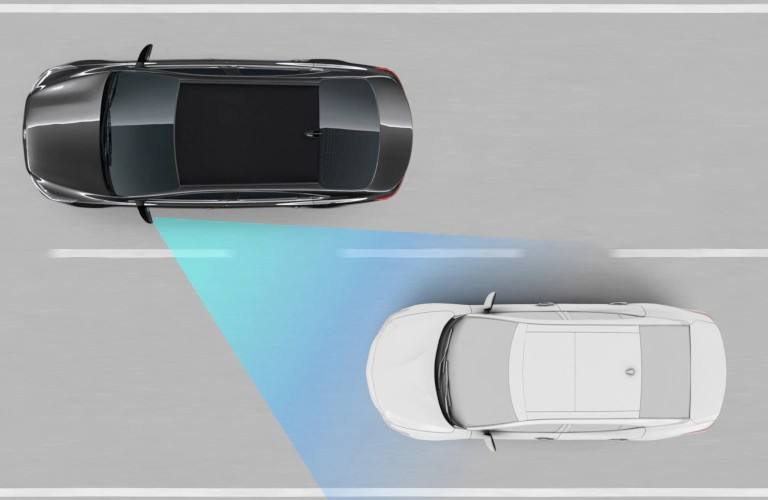 Diagram of the 2020 Kia Forte using the Blind Spot Collision Warning system