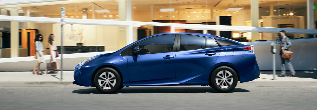 side view of a blue 2018 Toyota Prius