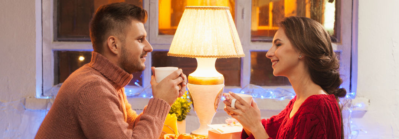 Couple enjoying coffee together