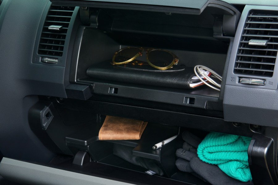 Close up of the dual-level glove compartment in the 2020 Toyota Sequoia