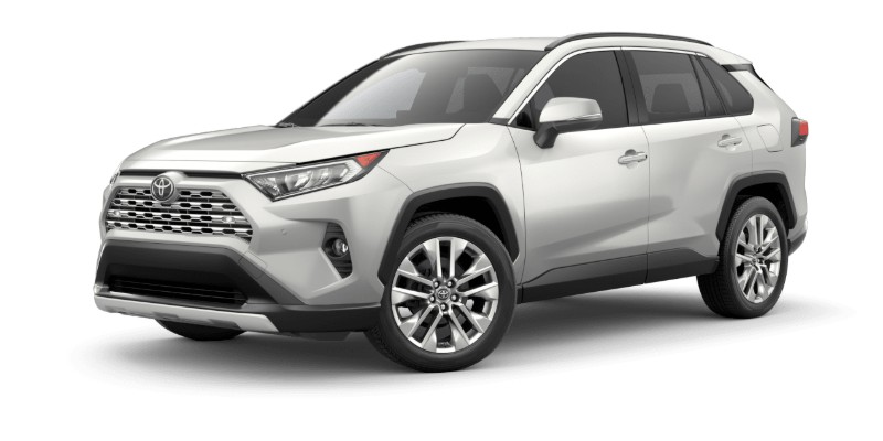 Front driver angle of the 2019 Toyota RAV4 in Blizzard Pearl color