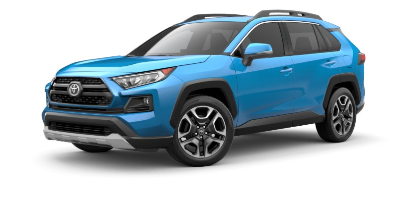 Front driver angle of the 2019 Toyota RAV4 in Blue Frame color
