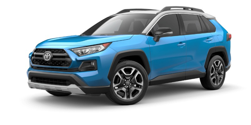 Front driver angle of the 2019 Toyota RAV4 in Blue Frame/Ice Edge Roof color