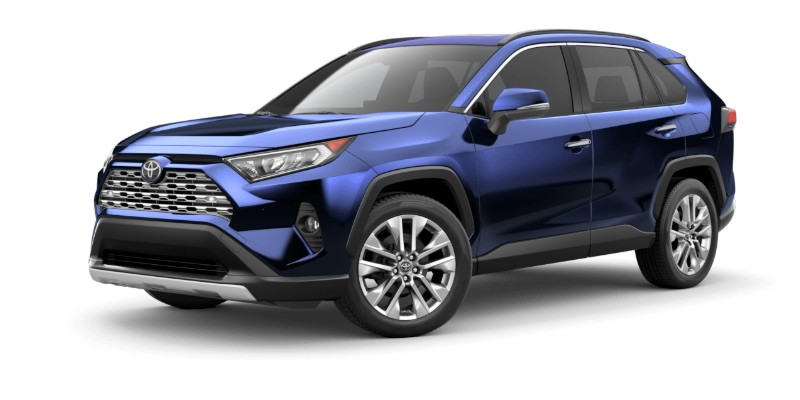 Front driver angle of the 2019 Toyota RAV4 in Blueprint color