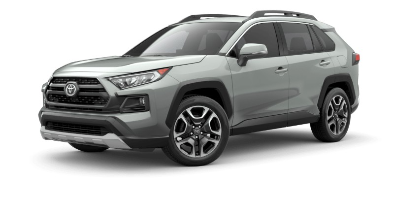Front driver angle of the 2019 Toyota RAV4 in Lunar Rock color