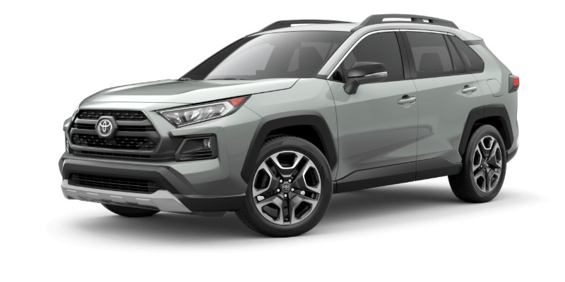 Front driver angle of the 2019 Toyota RAV4 in Lunar Rock/Ice Edge Roof color