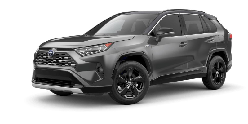 Front driver angle of the 2019 Toyota RAV4 in Magnetic Gray Metallic/Midnight Black Metallic Roof color