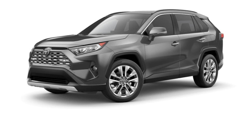 Front driver angle of the 2019 Toyota RAV4 in Magnetic Grey Metallic color