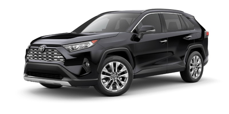 Front driver angle of the 2019 Toyota RAV4 in Midnight Black Metallic color