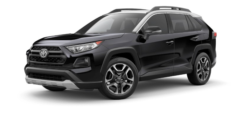 Front driver angle of the 2019 Toyota RAV4 in Midnight Black/Ice Edge Roof color