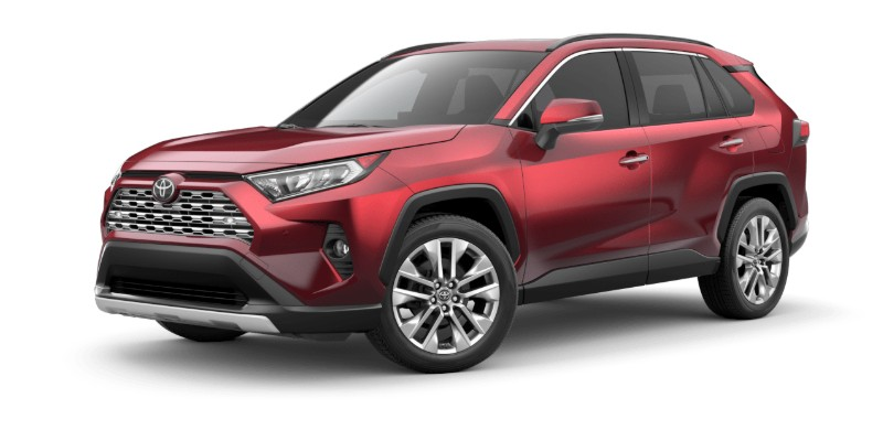 Front driver angle of the 2019 Toyota RAV4 in Ruby Flare Pearl color