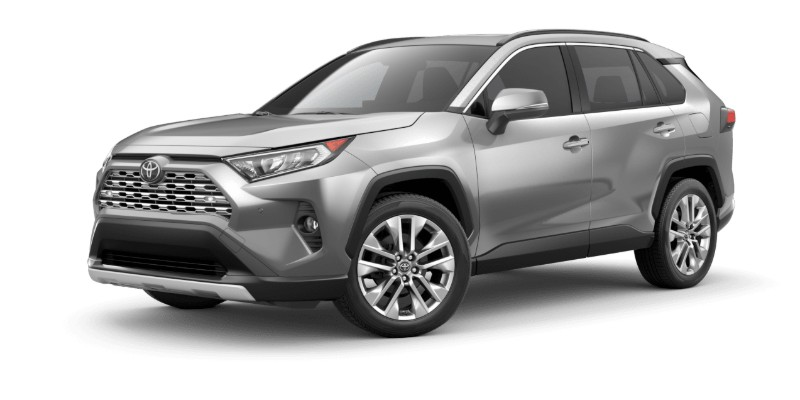 Front driver angle of the 2019 Toyota RAV4 in Silver Sky Metallic color