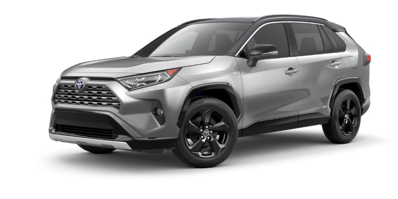 Front driver angle of the 2019 Toyota RAV4 in Silver Sky Metallic/Midnight Black Metallic color