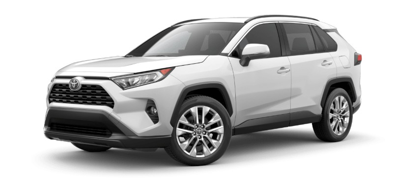Front driver angle of the 2019 Toyota RAV4 in Super White color
