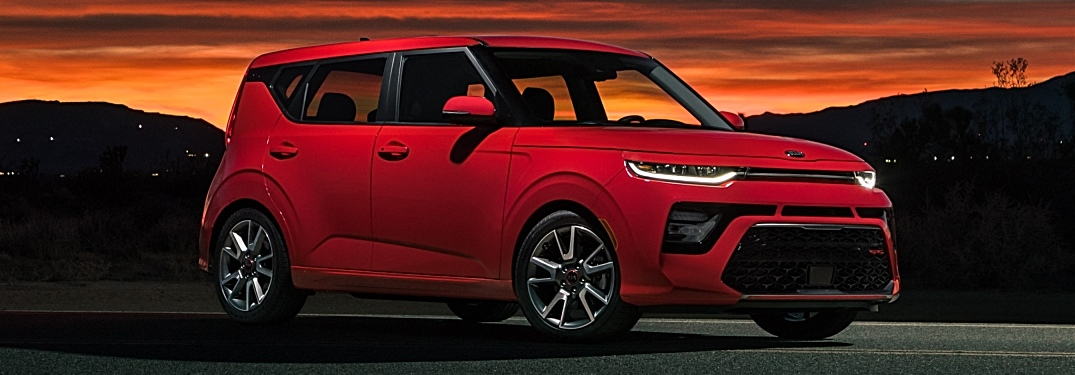 2020 Kia Soul red side view at sunset