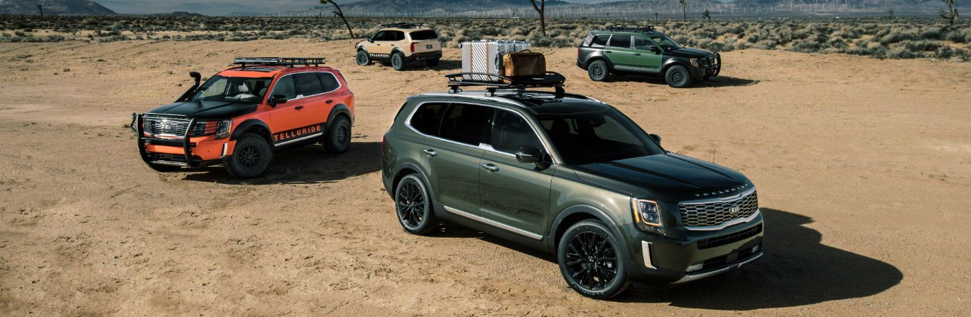 2020 Kia Telluride SUVs on desert terrain