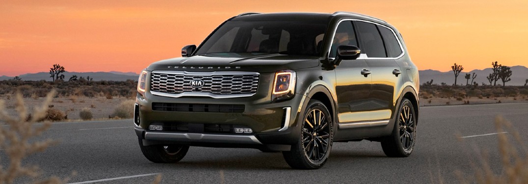 2020 Kia Telluride exterior front driver side driving on road in joshua tree desert