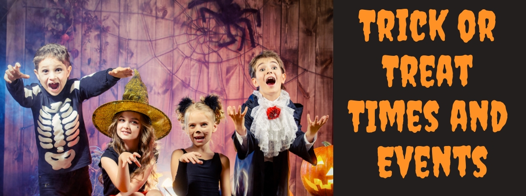 4 Kids in Costumes with Orange Trick or Treat Times and Events Text Over Black Background