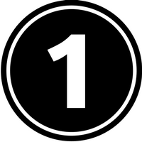 The number one in a black circle