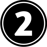 The number two in a black circle
