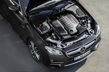 look under the hood of a Mercedes-Benz over the top of an engine