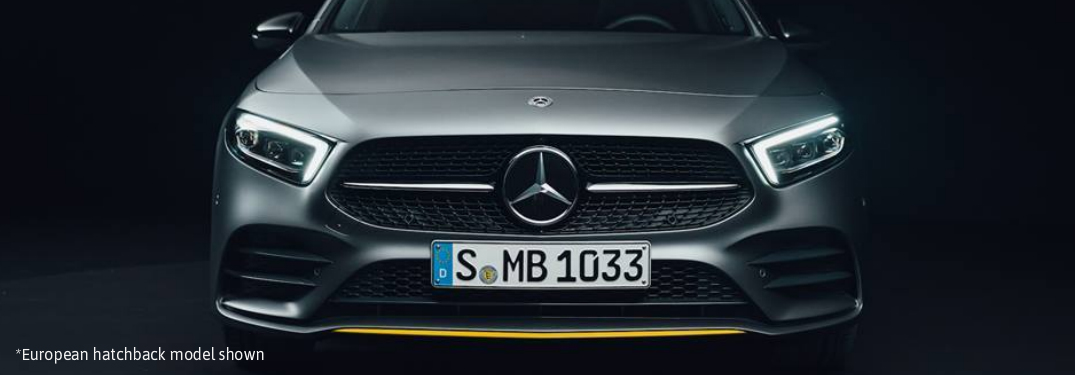 close view of grille on the 2019 Mercedes-Benz A-Class hatchback