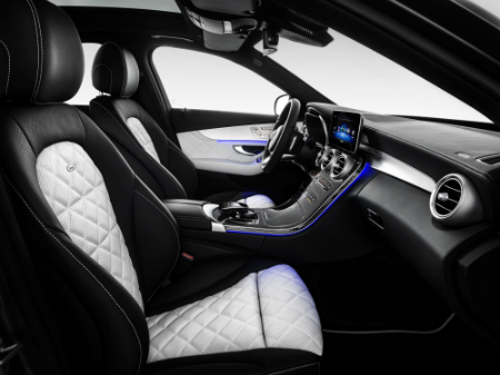 quilt pattern seats with ambient lighting inside the 2019 Mercedes-Benz C-Class