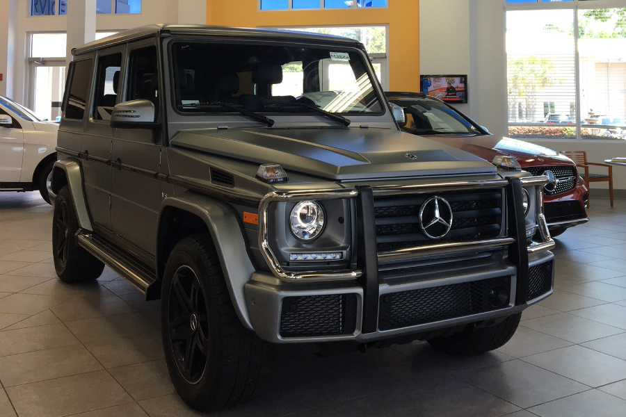 front view of grille and headlights on limited edition mercedes-benz g 550