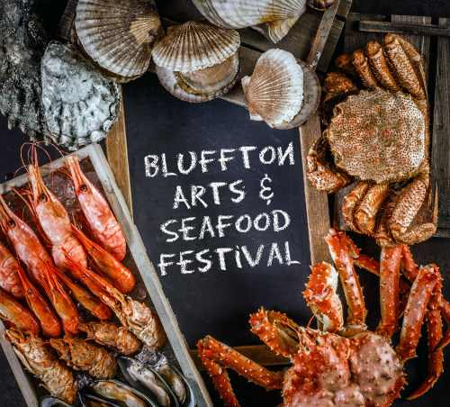 "chalkboard that says ""bluffton arts and seafood festival"" surrounded by seafood"